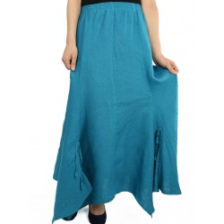 Asymmetrical linen skirt in turquoise