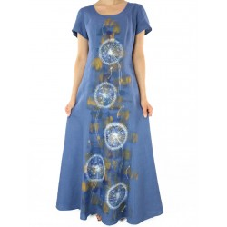 Blue linen dress painted by hand