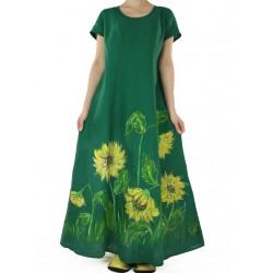 Zielona długa sukienka lniana ręcznie malowana