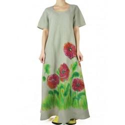 Sukienka lniana ręcznie malowane maki