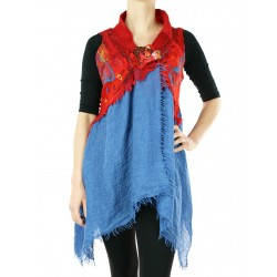Artistic vest felted on silk and cotton