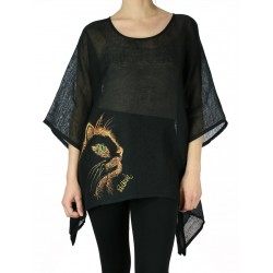 Black linen blouse hand-painted