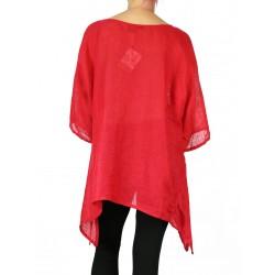 Czerwona lniana bluzka ręcznie malowana NP