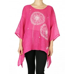 Pink linen blouse hand-painted NP