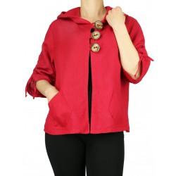 Czerwona bluza lniana z kapturem