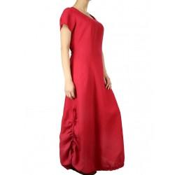 Czerwona lniana sukienka