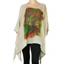 Hand-painted linen blouse