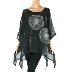 Black linen blouse with elongated sides, decorated with hand-painted dandelions