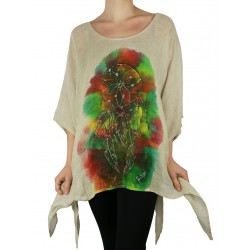 An airy linen blouse hand-painted Naturally Podlasek