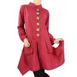 Asymetryczny płaszcz z bawełny Naturalnie Podlasek