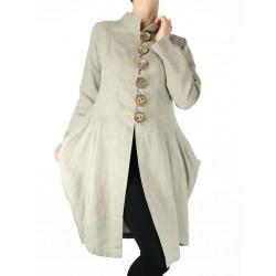 Asymetryczny płaszcz lniany Naturalnie Podlasek