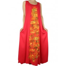 red viscose dress hand-painted Naturally Podlasek