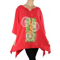 red modal blouse hand painted Naturally Podlasek