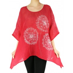 Red hand-painted linen blouse Naturally Podlasek