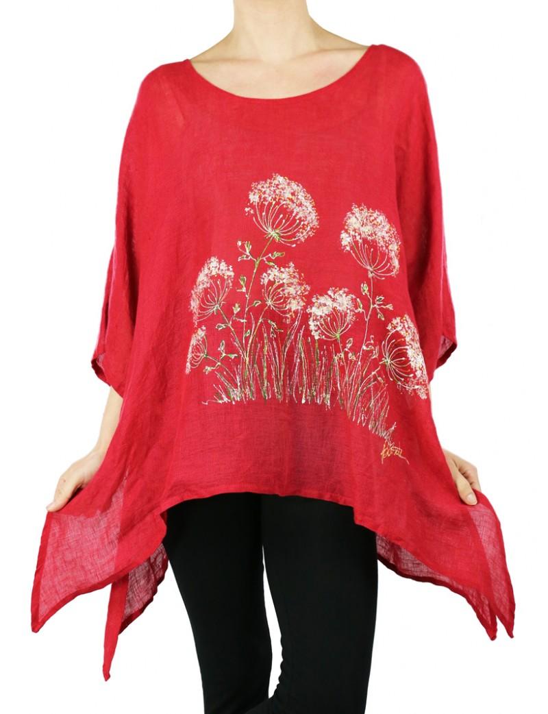 Czerwona lniana bluzka ręcznie malowana Naturalnie Podlasek