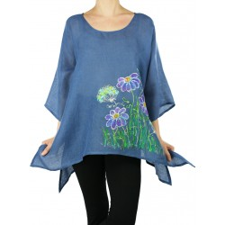 An airy linen blouse hand-painted NP