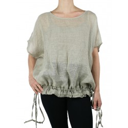 Linen blouse with adjustable length